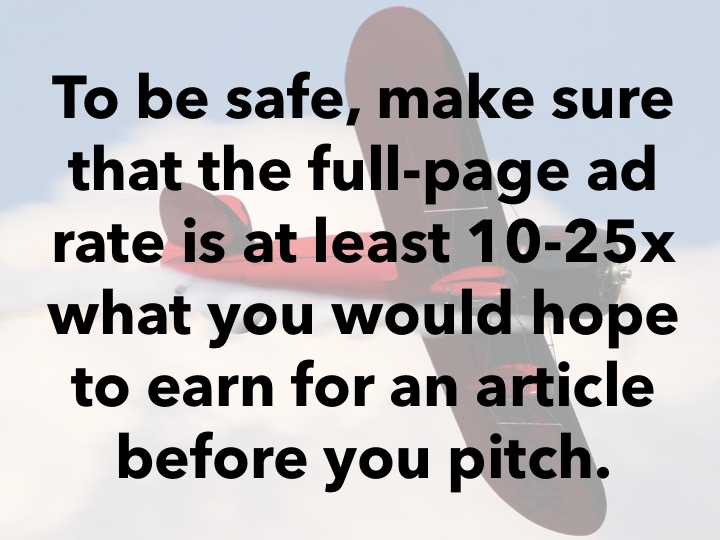Make sure the ad rate is 10 to 25 times what you'd like to earn.